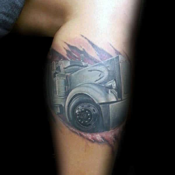 Ripped Skin Mens Semi Truck Leg Tattoos