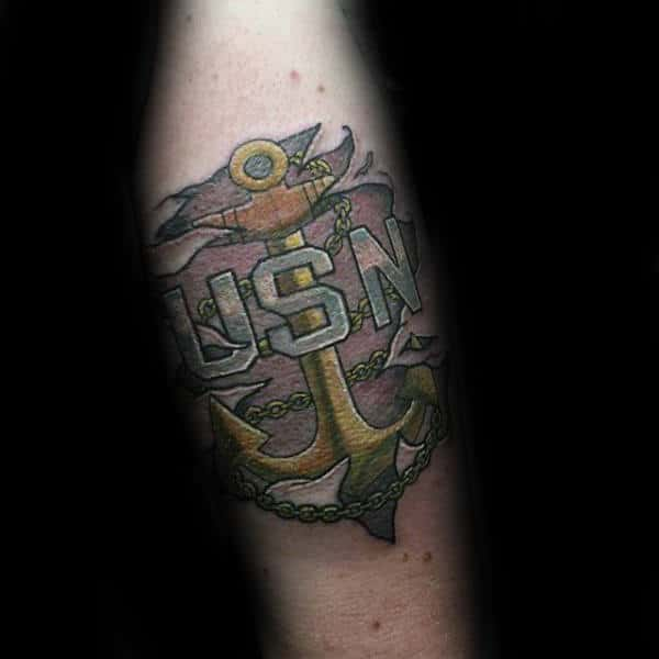 Ripped Skin Navy Usn Anchor Male Tatoto Designs