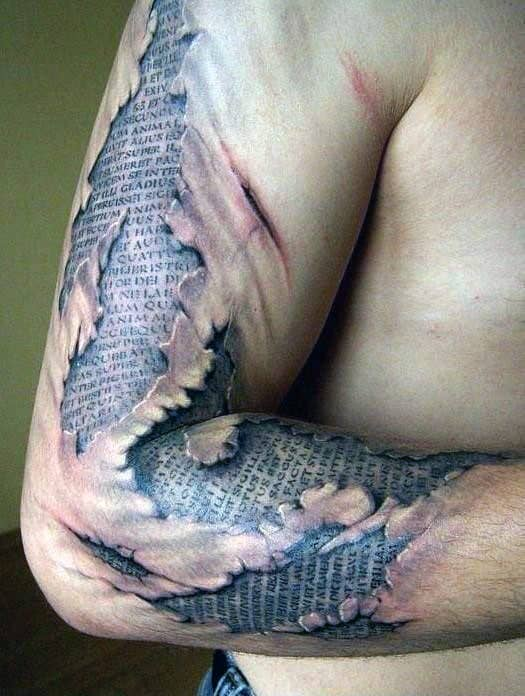 Ripped Skin Optical Illusion Quote Arm Mens Tattoo