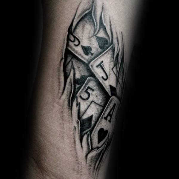 Ripped Skin Playing Card Wrist Tattoos For Men