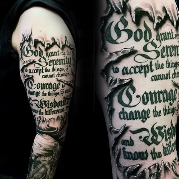 50 serenity prayer tattoo designs for men uplifting ideas for Scripture tattoos for men on arm