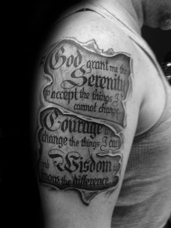 50 Serenity Prayer Tattoo Designs For Men Uplifting Ideas
