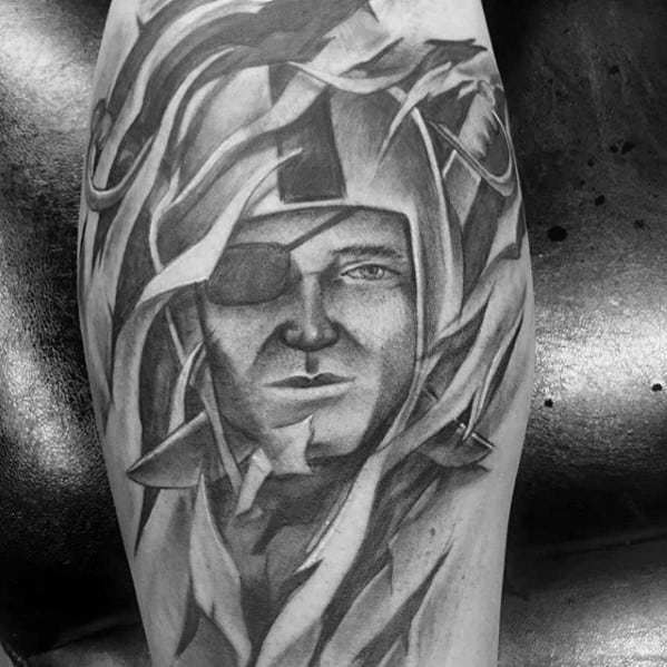 Ripped Skin Shaded Guys Oakland Raiders Leg Tattoos