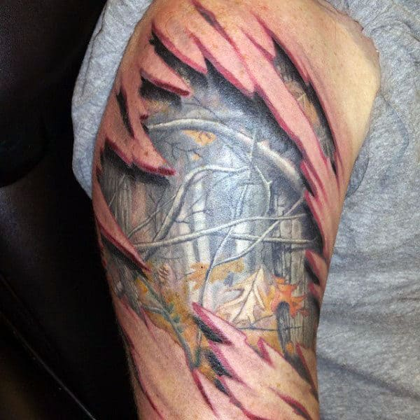 Ripped Torn Skin Male Upper Arm 3d Camouflage Tattoo