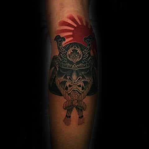 Rising Red Sun Mens Japanese Samurai Helmet Leg Tattoos