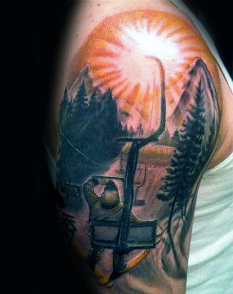 Rising Sun Chair Lift Skiing Mens Half Sleeve Tattoos