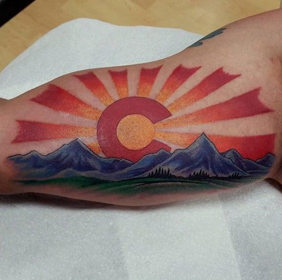 Rising Sun Colorado Mens Inner Arm Bicep Tattoos