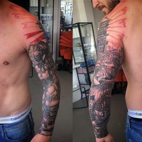 Rising Sun Koi Dragon Mens Full Sleeve Tattoos