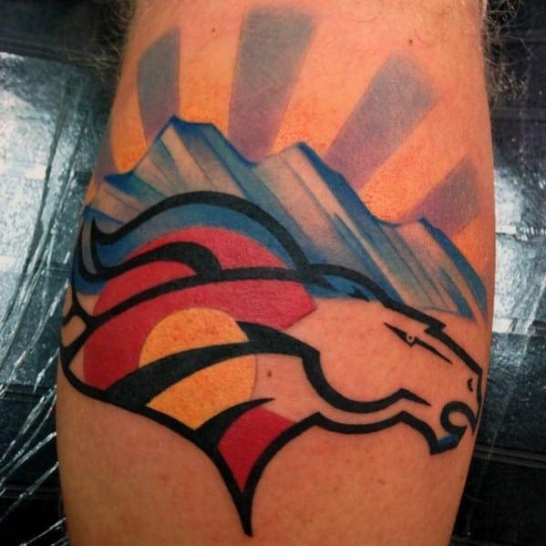 Rising Sun Over Mountains Denver Broncos Male Leg Tattoo