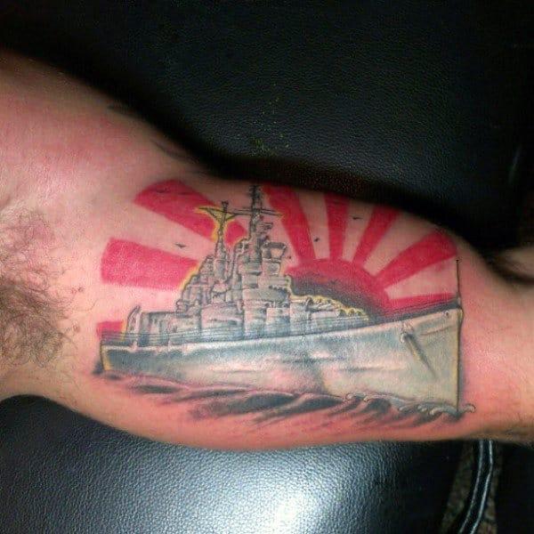 Rising Sun Rays Mens Red Ink Navy Bicep Tattoos