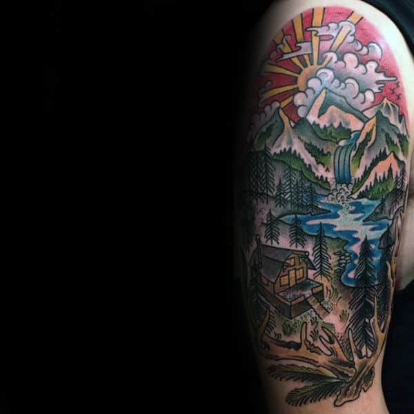 Rising Sun Waterfall With Cabin In The Woods Mens Half Sleeve Tattoo