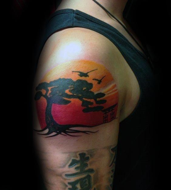 Rising Sun With Birds Bonsai Tree Upper Arm Male Tattoo