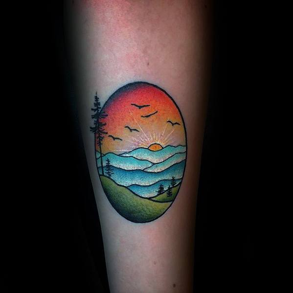 Rising Sun With Nature Scene Guys Small Colorful Forearm Tattoo