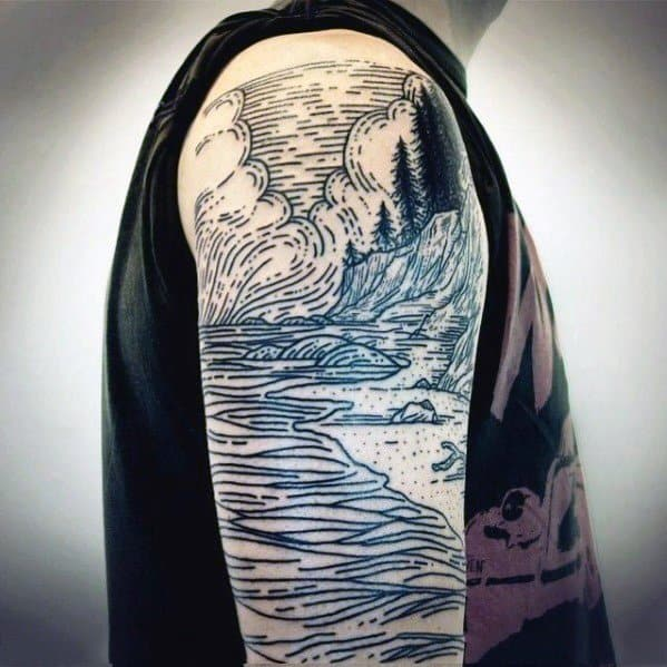 River Guys Tattoo Designs Woodcut Half Sleeve