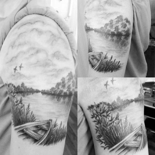 River Male Tattoos Quarter Sleeve