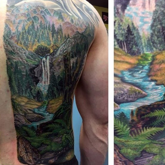 River Mens Tattoo Ideas Half Back