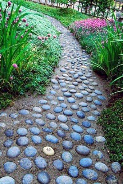 River Rock Exterior Designs Stone Walkway