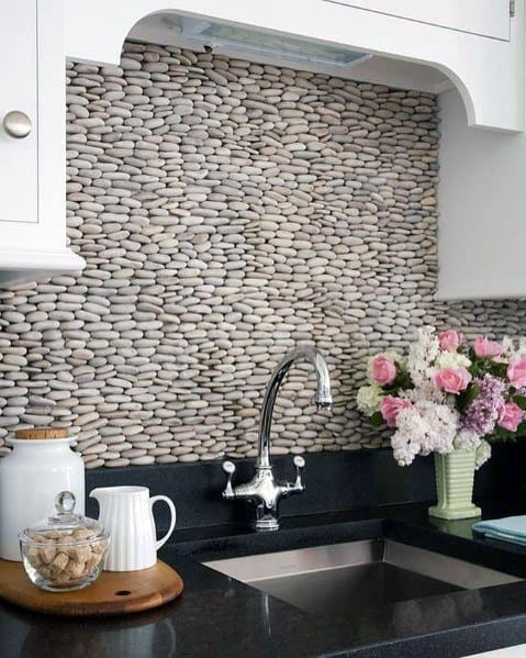 River Rock Stacked Wall Design Ideas Stone Backsplash