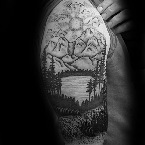 River Tattoo Design On Man Half Sleeve