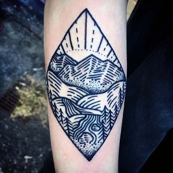 River With Nature Forest Woodcut Mens Small Forearm Tattoo