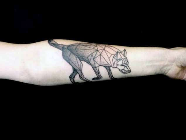 Roaming Geometric Wolf Mens Inner Forearm Tattoo Design Ideas