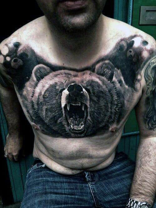 Roaring 3d Bear Guys Unusual Chest Tattoo With Realsitic Design