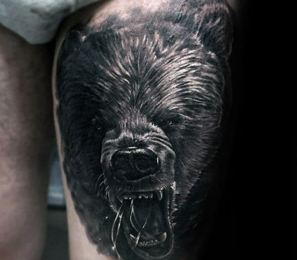 Roaring Angry Bear Guys 3d Thigh Tattoo Ideas