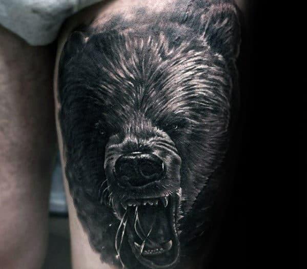Roaring Angry Bear Guys 3d Thigh Tattoo Ideas
