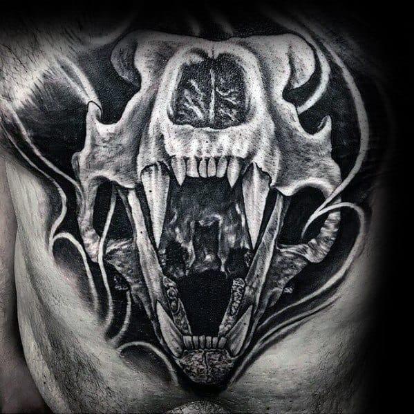 roaring-animal-skull-guys-unique-shaded-3d-chest-tattoos