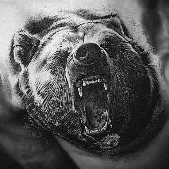 Roaring Bear 3d Realistic Coolest Mens Chest Tattoo Ideas