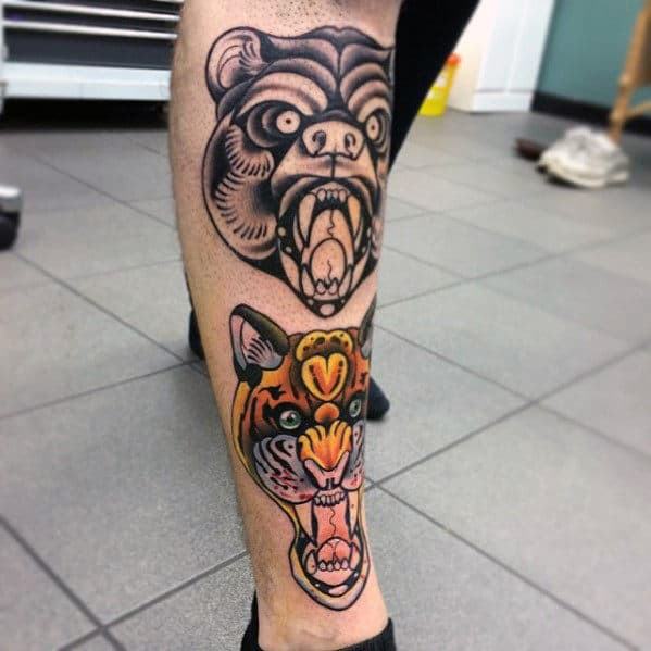 Roaring Bear And Tiger Traditional Leg Tattoos For Guys