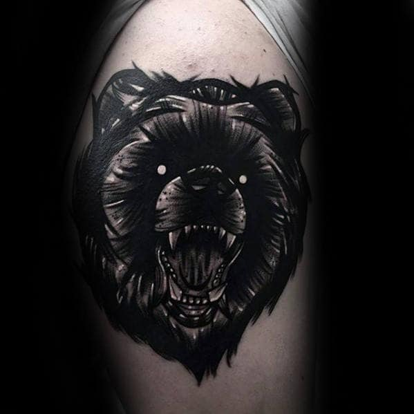 Roaring Bear Awesome Blackwork Arm Tattoos For Gentlemen