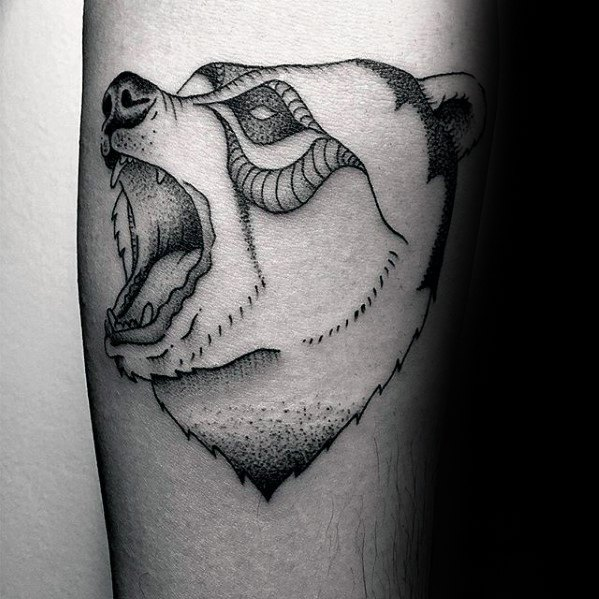 Image of: Tatuagem Roaring Bear Head Guys Small Animal Nature Tattoo On Arm Next Luxury 50 Small Nature Tattoos For Men Outdoor Ink Design Ideas