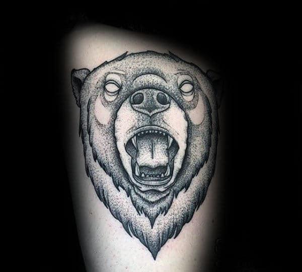 Roaring Bear Pointillism Mens Thigh Tatoto