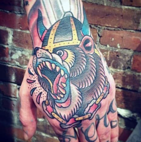 Roaring Bear With Viking Helmet Guys Traditional Tattoo On Hand