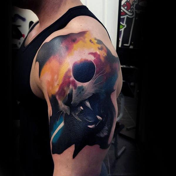 Roaring Big Cat Colorful Outer Space Mens Watercolor Arm Tattoos