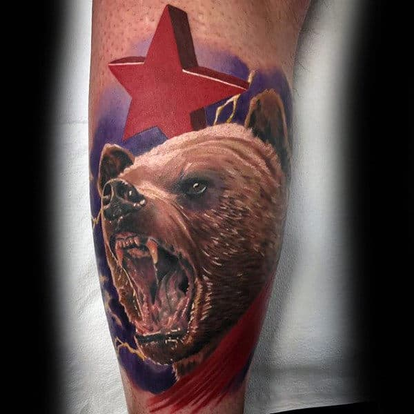 Roaring California Bear With Realistic Design And 3d Red Star Tattoo On Male