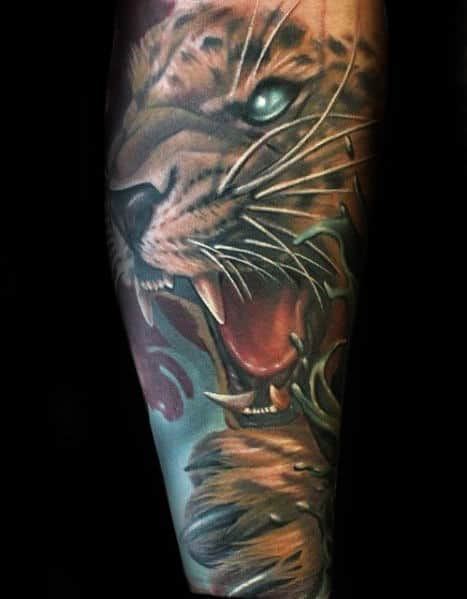 Roaring Cheetah Guys Modern Leg Sleeve Tattoo Designs
