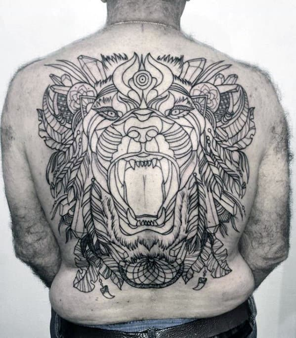 Roaring Decorative Bear Male Badass Back Tattoo Ideas