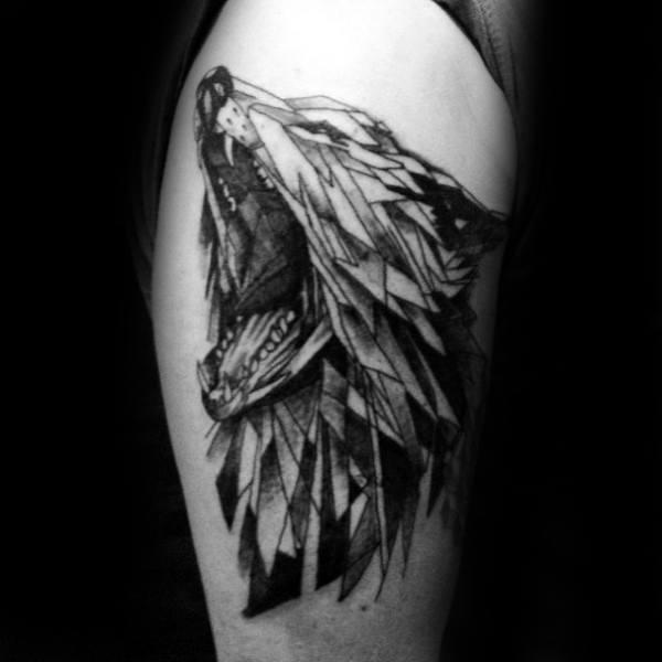 Roaring Geometric Wolf Upper Arm Tattoo For Men