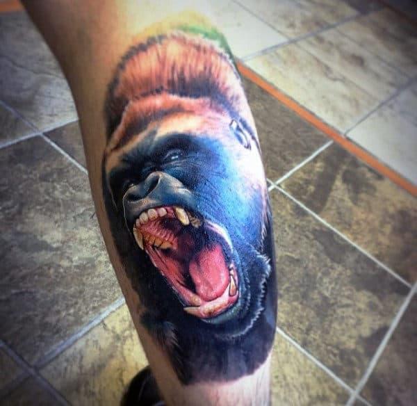 Roaring Gorilla Ape Mens Tattoo On Back Of Leg Calf