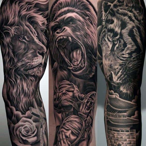 Roaring Gorilla With Calm Lion Guys Amazing Sleeve Tattoo Ideas