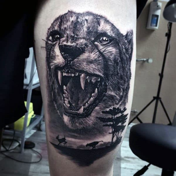 Roaring Leopard Nature Thigh Tattoos For Guys