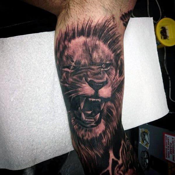 Roaring Lion Guys Arm Sleeve Tattoos