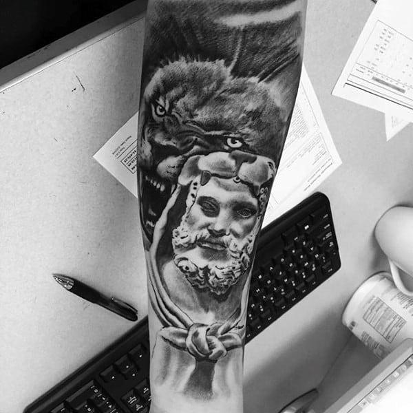 Roaring Lion Hercules Mens Forearm Sleeve Tattoos