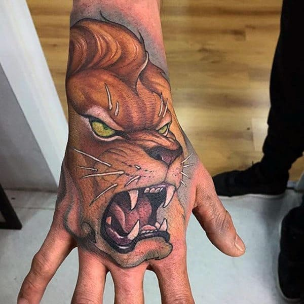 Roaring Lion Insane Guys Hand Tattoo