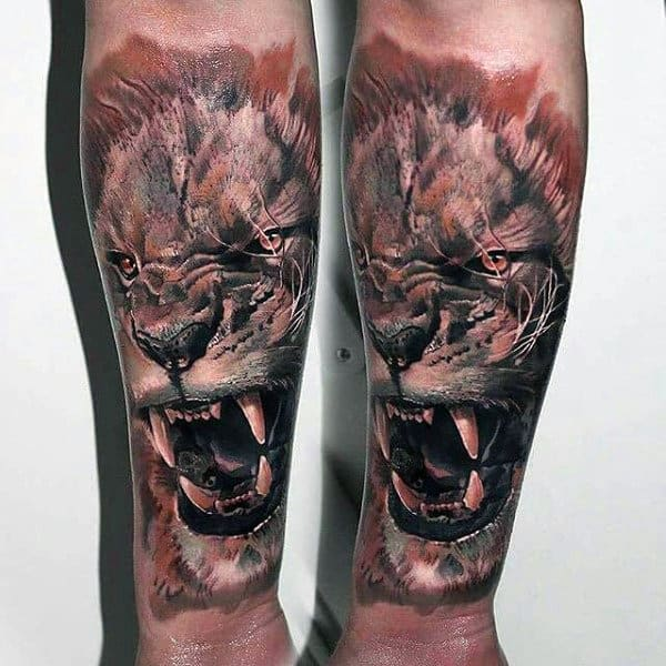 Roaring Lion Male Animal Tattoo Forearm Sleeve