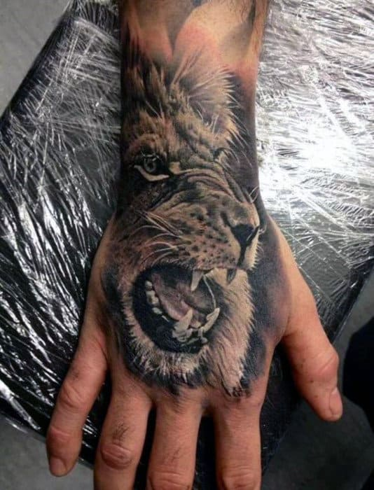 Roaring Lion Male Hand Tattoos