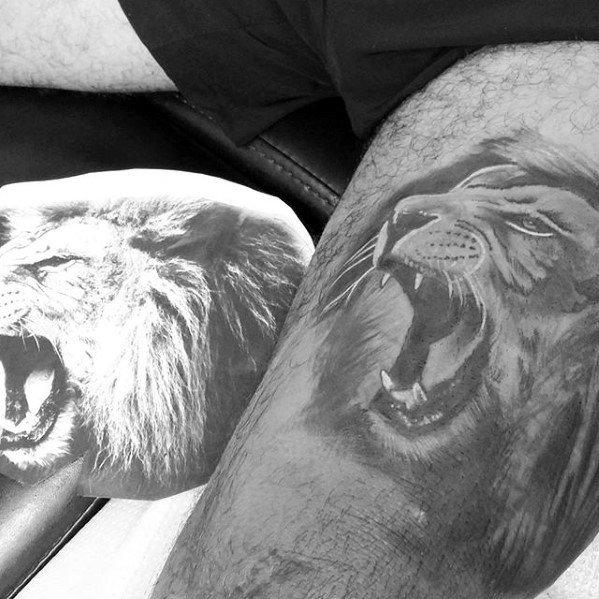 Roaring Lion Thigh Mens Leg Tattoo Ideas