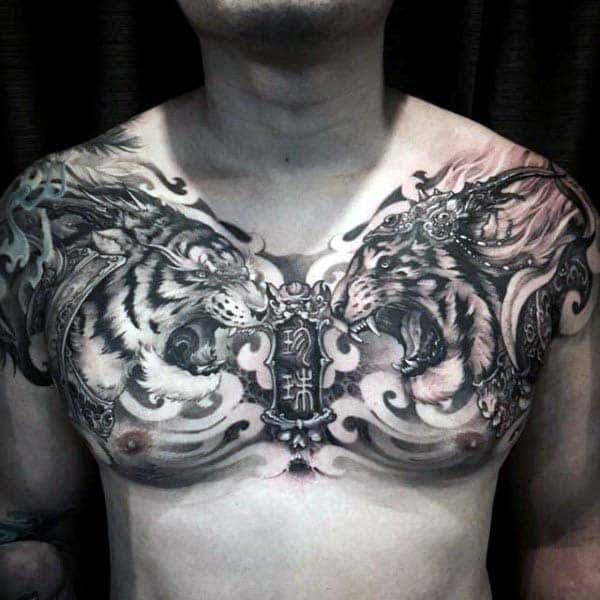 Roaring Lions Chinese Nice Mens Upper Chest Tattoo Designs